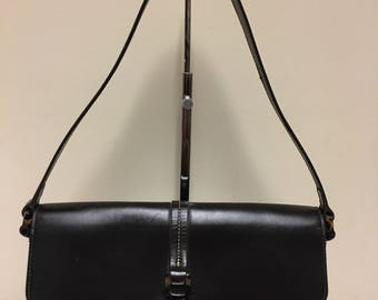 Ann Taylor Vintage Chocolate Brown Leather Shoulder Bag Purse