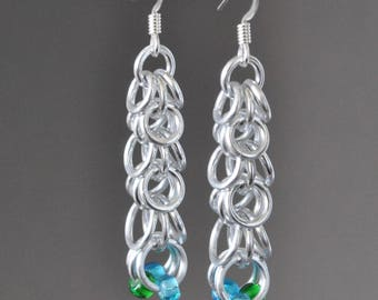 NEW! Waterfall: Silver, Blue and Green Chainmaille Earrings