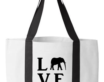 Monogrammed Canvas Tote Bag -Love Tote with Elephant- Alabama Football Tote Bag