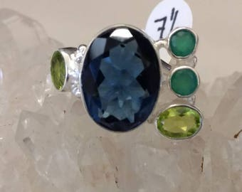 Iolite, Peridot and Emerald Ring Size 7 1/2