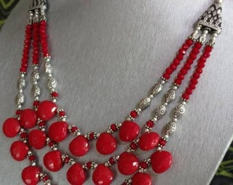 Three Strand Red Coral Necklace and Earring Set