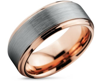 Rose Gold Mens Wedding Band, Brushed Silver Wedding Ring, Promise Ring, Engagement Ring, Gold Ring, Gifts for Him, Gifts for Her