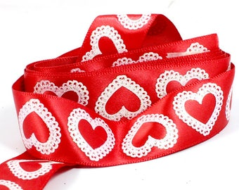 8 Feet Sparkly White Hearts and Red Satin Ribbon. Sparkly Hearts and Red Ribbon for Crafts. Red Craft Ribbon. Red Hair Bow Ribbon 7/8 inch