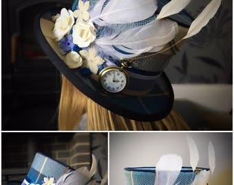 Blue Tartan Top Hat - Mad Hatter, Alice In Wonderland, Steampunk