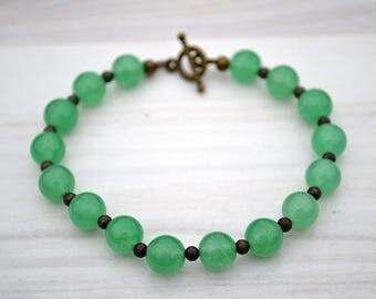 Light green aventurine bracelet, Beaded aventurine bracelet, Genuine aventurine bracelet, Aventurine jewelry, Buy one get one free.