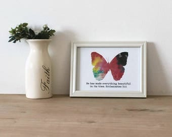 He Has Made Everything Beautiful In Its Time Scripture Wall Art / Multicolored Butterfly / Christian Wall Printable / Instant Download