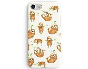 Sloths everywhere watercolor  iPhone X case - iPhone 8 case - Samsung Galaxy S8 case - iPhone 7 case - Tough case 1P054
