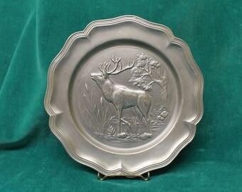Vintage Rein Zinn HB 95% Pewter ELK Plate Hunting Deer hallmarked with angel mark SKS Zinn man cave office boss father hunter German