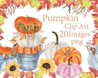 Watercolor Pumpkin Clipart,Thanksgiving Clipart,Autumn Clipart,Halloween clipart,Fall leaf clipart,Autumn colors,Watercolor sunflowers