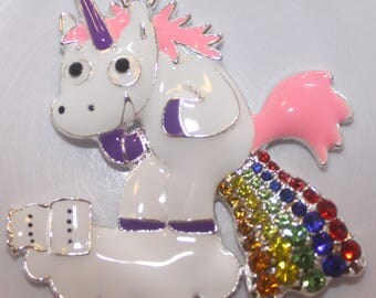 46mm Unicorn Rainbow Rhinestone Pendant