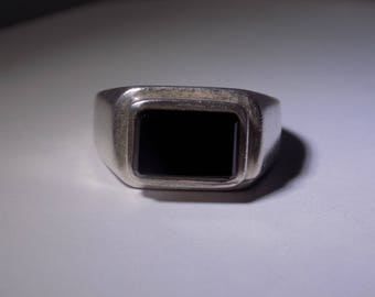 Large sterling silver onyx ring size 13
