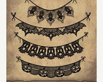 50% OFF Halloween Lace Banner Clipart - Halloween Banner ClipArt - Instant Download - Repeatable Halloween Lace Banners