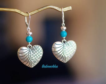Turquoise silver sleepers 925 real silver stylized heart pendant