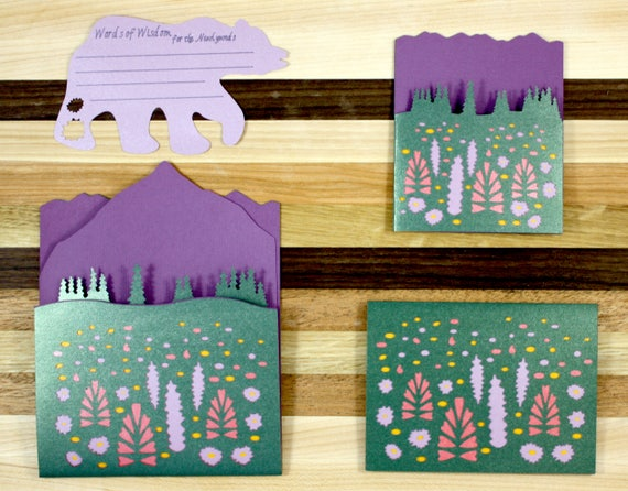 Wildflower Mountain Wedding Collection Sample - Formal Invitation, Save the Data, Thank You Card and Advice Card