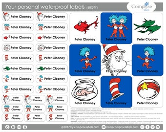 Dr Seuss -The cat in the hat - thing 1 - Thing 2 - Your personal waterproof labels (68 Qty) Free Shipping
