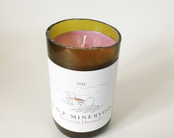 Vineyard scent/ Red Wine scented/ Natural Soy Wax Candle/ cut wine bottle/ unique hostess gifts/ Mother's Day Gift/ recycled/ zerowaste