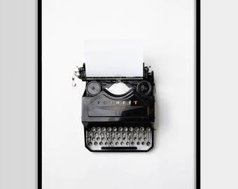 Typewriter Print, Antique Typewriter Photo, Black and White, Modern Photo, Minimalist, Printable art, Digital art Instant Download 16x20