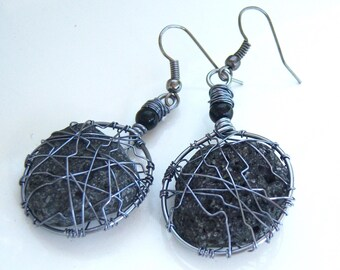 Wire wrap, unique earrings, with Sicily basalt stones