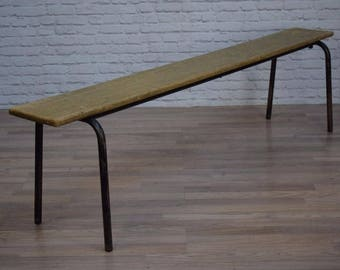 Vintage Industrial Stacking Pine School Cafe Bar Pub Benches