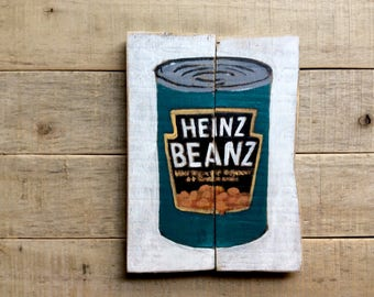 Mixed Media Painting of Heinz Baked Beans  on  Reclaimed  Wood -Kitchen Wall Art -Unique Housewarming Gift - Food Wall Art