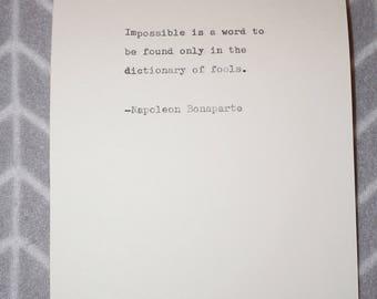 Napoleon Bonaparte Quote Typed on Typewriter