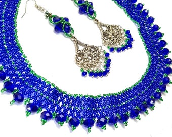 Seed Bead Necklace, Blue Necklace, Woven Necklace, Netted Necklace, Beaded Necklace, Wedding Necklace, Small Beads Necklace, Jewelry Women