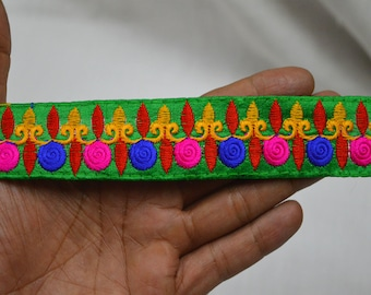 Green Embroidered Fabric Trim and embellishments Indian Laces Sari Border Trim By 2 Yard Sewing Craft Ribbon Trimmings Saree Trims