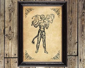 Faun, faun print, Pan, Horned God, Pagan, satyr, dark, magic, witchcraft, canvas print, faun poster, devil, Wicca, Satyr print, collage, 121