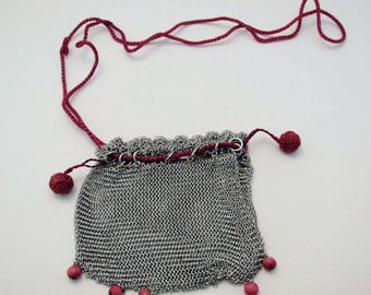 1970s Retro .800 silver Cranberry red small mesh bag pouch