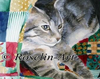 Original watercolor. Cat portrait (Simba)