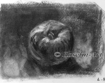 Charcoal drawing. Apple 1