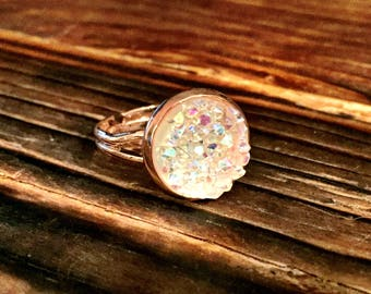 Crystal Druzy Ring - Rose Gold Setting
