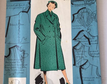 "Fabulous 50's french vintage sewing pattern ""Patrons modeles 34120"" woman winter coat jacket size 16 taille 44"