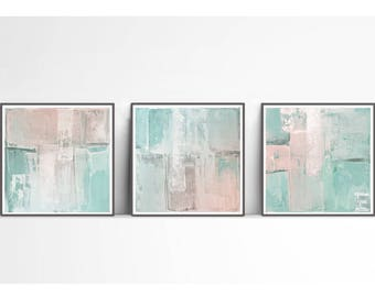 Set of 3, triptych prints, scandinavian , mint, PRINTABLE , Abstract art , blush pink and mint , wall decor, pink and teal,coral, industrial