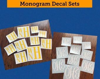 Monogram Decal Package, Set of 10, Back to School Monogram, School Supplies, School Supply, Monogram Decal Set of 10