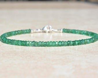 Zambian Emerald Gemstone Bracelet, May Birthstone Bracelet, Natural Emeralds, Gemstone Bracelet, Beaded Bracelet, Christmas Gift for Her