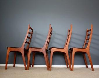 Kai Kristiansen Danish Modern Teak Dining Chairs Korup Mid Century Retro Vintage 50s 60s 70s