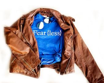 LAST ONE // Fear{less} - Inspirational - Motivation - Empowered - Women - Faith- V-NECK, Royal Blu - Unisex