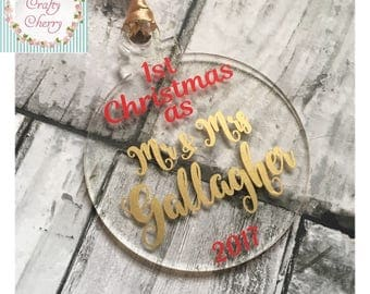 Mr & Mrs first Christmas Tree Baubles – Acrylic