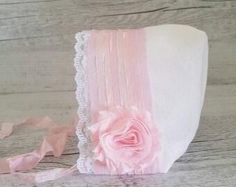Newborn Baby Bonnet, Newborn PhotoProp, Photography Prop, Baby Bonnet, Pink Bonnet, Shabby Chic, Baby Girl Bonnet,