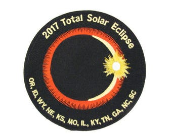 """2017 Total Solar Eclipse 12 State Totality Sun Moon Nasa Space Commemorative Dual Hook and Loop Velcro 5"""" Patch"""