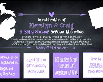 Across the Miles Baby Shower Invitation