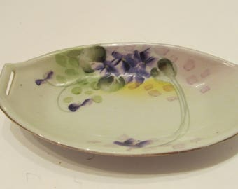 HAND PAINTED Tohina E-OH China - Nippon - Violet Relish Tray c. late 1800-early 1900s