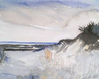 Cape Cod beach painting, original watercolor shore scene, Mayflower Beach Bay side, coastal beach cottage decor art