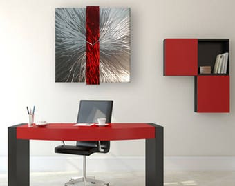 Red Metal Wall Clock, Large Wall Clock, Modern Wall Clock, Red Modern Wall Clock, Office Decor, Contemporary Accent, Industrial Wall Clock