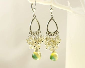 Bicolor Quartz. Lemon Quartz Chandelier Earrings, Bicolor Green and Yellow Quartz Drop Earrings, Quartz Cluster Earrings