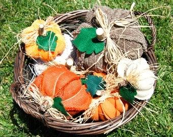 Fall pumpkins, Orange stuffed pumpkins,Housewarming gift,Hostess gift,Fall decor,Fabric pumpkin,Table-Mantle decor,Thanksgiving,Halloween
