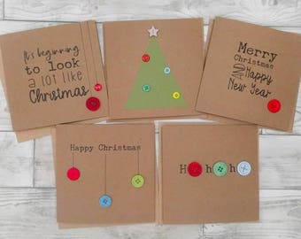 Pack of 5 cute handmade Christmas cards with buttons -  christmas tree, baubles, ho ho ho