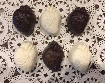 HUMAN HEART SOLID Chocolate Pieces (12 qty) Cardiologist/Doctor Gift/Medical Doctor/Transplant/Heart Specialist/Body Part/Med Student