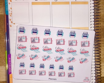 Kawaii Planner, Printer and Cutter Planner Stickers (w/ Mini's!) for use with Erin Condren Life Planner and other planners